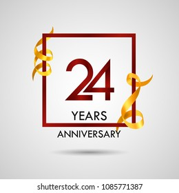 24 years anniversary with red number design inside red square and golden ribbon element, isolated on white background can be used as celebration card