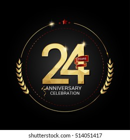 24 years golden anniversary logo with red ribbon, low poly design number, isolated on black background