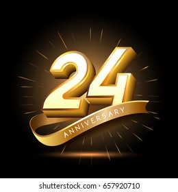 24 years golden anniversary logo celebration with firework and ribbon
