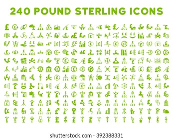 240 British Business vector icons. Style is eco green flat symbols on a white background. Pound sterling icon is basic element.