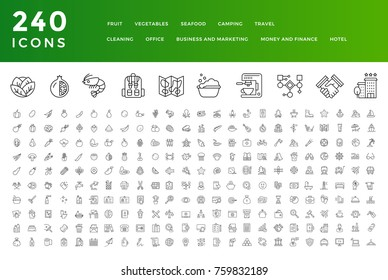 240 Thin Line Icons Collection. Fruit, Vegetables, Seafood, Camping, Travel, Cleaning, Office, Money and Finance, Business and Marketing, Hotel.