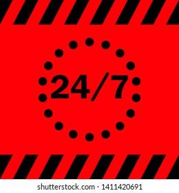 24/7 black on a red background, vector illustration for design.