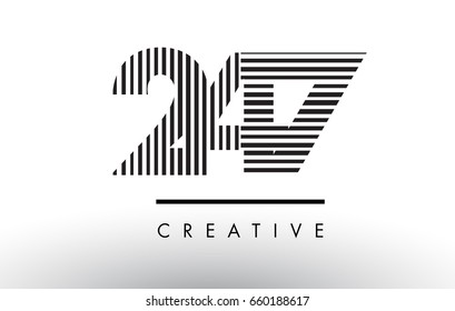 247 Black and White Number Logo Design with Vertical and Horizontal Lines.