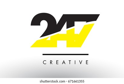 247 Black and Yellow Number Logo Design cut in half.
