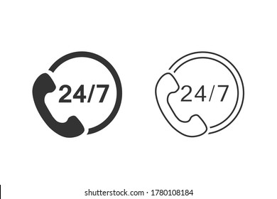 24/7 call center support vector line icon set