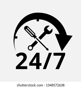24/7 Car Service Logo with screwdriver and wrench. isolated vector illustration. eps file