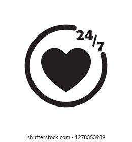 247 chat icon black vector design illustration