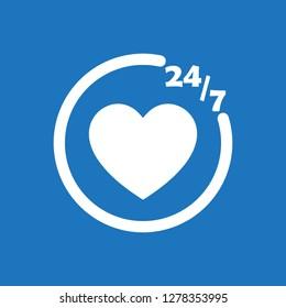 247 chat icon flat vector design illustration.