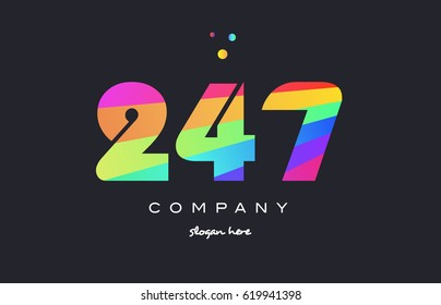 247 creative color green orange blue magenta pink number digit company logo vector icon spectrum