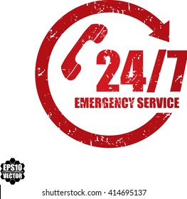 24/7 Emergency service grunge stamp.Vector