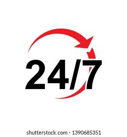 24/7 Hours Icon Vector - Vector
