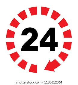 24/7 hours service flat sign, twenty four hours open sign isolated designs,  24 hours open support icon, app icon, tech support concept