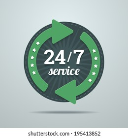 24/7 hours service sign in flat style with green arrows. Vector illustration in EPS10.