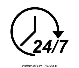 24/7 icon logo vector