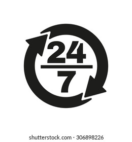 The 24/7 icon. Open and assistance, support symbol. Flat Vector illustration