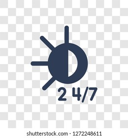 24/7 icon. Trendy 24/7 logo concept on transparent background from Human Resources collection