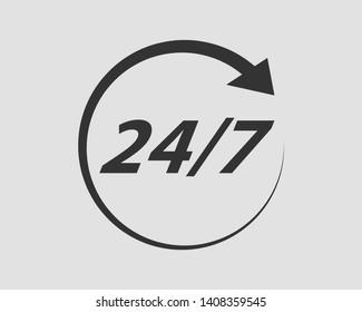 24/7 icon vector. 24 hour service clock.