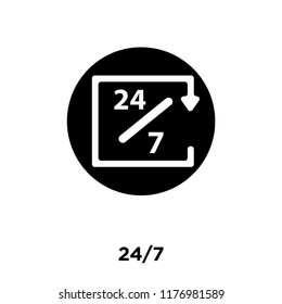24/7 icon vector isolated on white background, logo concept of 24/7 sign on transparent background, filled black symbol