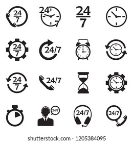 24/7 Icons. Black Flat Design. Vector Illustration.
