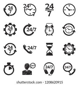 24/7 Icons. Black Scribble Design. Vector Illustration.