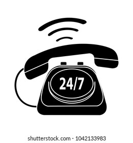 24/7  old phone service - communication icon, support service symbol