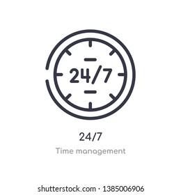 24/7 outline icon. isolated line vector illustration from time management collection. editable thin stroke 24/7 icon on white background