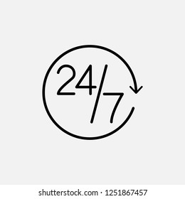 24/7 outline icon. icon. 24/7 line outline concept symbol design. Stock - Vector illustration can be used for web
