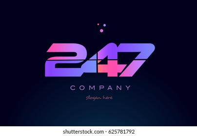 247 pink blue purple number digit numeral dots creative company logo vector icon design template