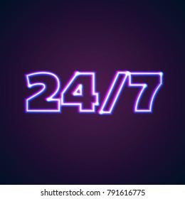 24/7 round hour open neon sign with glowing purple and blue lights