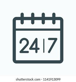 24/7 Round-the-clock work calendar icon. Calendar vector icon