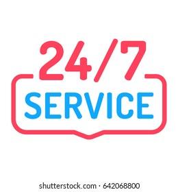 24/7 service. Badge icon. Vector design on white background.