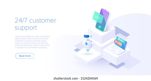 24/7 Service-Konzept oder Call-Center in isometrischer Vektorgrafik. 24-7 rund um die Uhr oder ununterbrochener Kundendienst-Hintergrund. Mobile Layout-Vorlage für Webbanner für Selbstbedienung.
