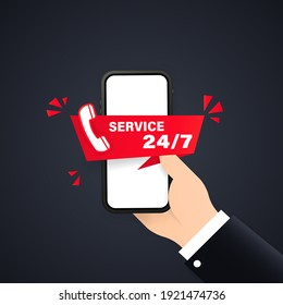 24-7 service concept or call center illustration. Landing page template customer and operator, online technical support 24-7 for web page Online assistant, virtual help service smartphone.