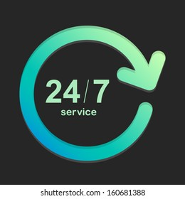24/7 service green and dark background Vector Element