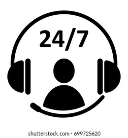 24/7 service icon. Headphone and people icon with text 24/7. EPS10 vector illustration. Perfect design for call center logo, technical service support, business template, banner, hot line service.