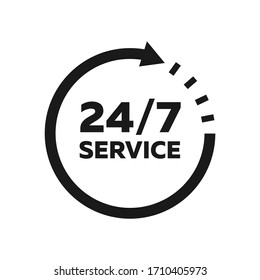 24/7 service icon. Support sign. Vector illustration
