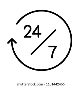 24/7 service, online help concept line icon. Simple element illustration. Can be used for web and mobile UI/UX