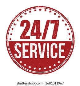 24/7 service sign or stamp on white background, vector illustration