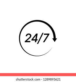 24/7 services vector icon, support symbol. Simple, flat design for web or mobile app