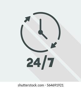 24/7 steady concept symbol - Vector web icon