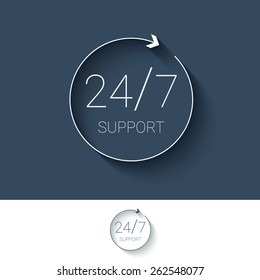 24/7 support and service for customers button. Modern material flat design, thin line icon. 24 hours, 7 days symbol. Eps10 vector illustration.