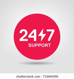 24/7 Support Vector Icon. 24h Online Service Red Circle Design Element. Vector Sticker of online 24/7 support service, can be used in logo, UI and web design symbol.