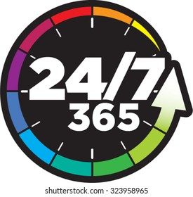 24/7 timing badge symbol