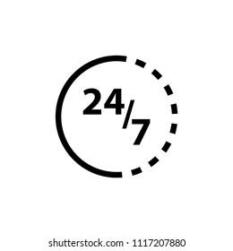 24/7 vector icon logo template