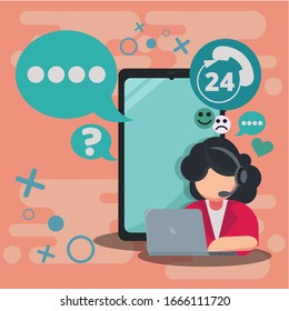 24h all the time call center support via phone vector illustrator