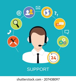 24h all the time customer support center via phone mail operator service icons concept vector illustration