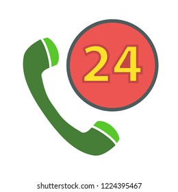 24h Call center - help icon, technical support icon, computer service support, tech support concept