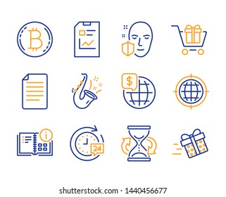 24h delivery, Seo internet and Face protection icons simple set. Report document, Bitcoin and World money signs. Jazz, Hourglass and File symbols. Line 24h delivery icon. Colorful set. Editable stroke