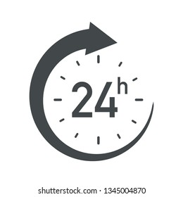 24h icon. Flat vector illustration in black on white background.
