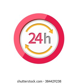 24h icon. Repair fix tool icons. 24h Customer support service signs. Circle concept web button. 24 h vector icon. 24h icon on clean background. Isolated icon 24h. 24H icon, badge, label or sticker